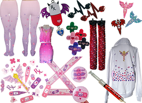 Tights, a shirt and skirt set, necklaces, stickers, knee-high socks, pendants, pins, wash tape and buttons all with pills, bandaids, thermometers, and heart-rate blips on the in both bright and goth color pallettes.