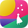 Fabulous Logo, white silhoutte of a person in a dress overlooking a pink,blue and purple landscape with large yellow sun in the top left corner