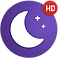 Sleepo Logo, a purple circle with white crescent moon and stars