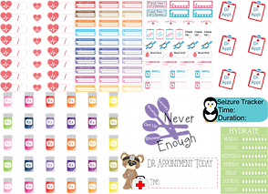 A range of planner stickers and sticker sheets.  BP trackers, appointment stickers, cancer treatment stickers, Dr. Apointment, seizure tracking with a small penguin, a hydration chart and prescription bottles.