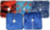 5 tube pads in varying patterns.  On top are 3, one with a flame pattern, 1 with clownfish, and another with an abstract blue pattern.  The bottom two are 2 different blue patterns.