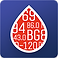 Glucose Buddy Logo, a royal blue square with red droplet into which various glucose number readings are printed