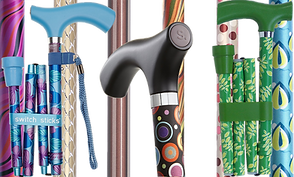 "Folded canes in a variety of patterns and colors with curved handles marked with the ""switch sticks"" logo."