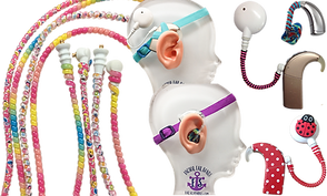 A set of 4 multicolored twirly wraps for hearing aid tubes, plus 4 of the same shown wrapped around cochlear lines, 2 model heads- one wearing a strap around in purple that attaches to the reciever of a hearing aid, and the other in teal wrapped to attach to the over-ear receiver of a cochlear implant.  3 hearing aids showing different colored tube wraps.