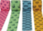 4 rolls of bandage wraps, pink, green, blue and yellow.  The pink has hearts, the green, dinosaurs, the blue, cars, and the yellow, bees