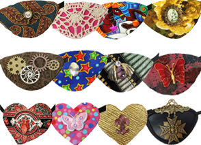 3 different rows of 4 eyepatches each.  They're mostly steampunk themed with gears and dark gothic colors, 3 are heartshaped and some have butterflies, bees and butterflies on them
