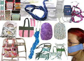 A wide range of medical equipment sporting hand made fabric covers. Items include a wound-vac, cannula tubing, ostomy bags, face masks, a stethoscope, and drain tubing.  Additionally there are bags for wheelchairs and walkers, and bags for ostomy supplies and wound vacs.