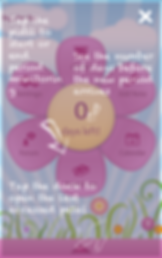 """Screenshot of Period Diary App, a pink petaled cartoon flower. In each petal is a different option, """"Settings, Add Notes, Calendar, Forum,"""" and 2 others that are occluded by an instructional overlay.  The overlay reads, """"Tap the pistil to start or end period monitoring"""", """"See the number of days before the new period arrives,"""" and """"Tap the dock to open the last accessed petal."""""""