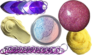 A bug-looking chain mail fidget toy, yellow smooth putty looking slime, pink purple and blue floam, pink sparkly smooth slime, and a textured yellow slime as well as a long strip of braided maille fidget toy.
