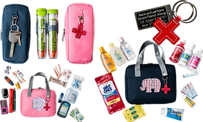Severeal photos of medication bags. One Pink and One Blue sized to fit 2 epipens, each with a clip on the outside for keys.  A larger pink bag with striped monogram patch shown with a variety of diabetic supplies which will fit inside.  A blue bag of similar size with a plaid elephant patch on the front surrounded by other supplies.  And a small medic-alert keychain with stitched red cross symbol as fob.