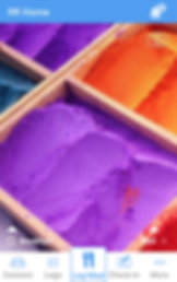 "Screenshot of Recovery Record App, an abstract photo of wooden boxes with orange and purple sand in them.  Below is a white menu bar with options for ""Connect, Logs, Log Meal, Check-In"" and ""More."""