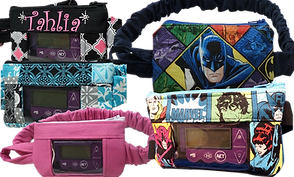 5 insulin pump pouches.  3 are more girly patterns, one solid pink, 1 blue and grey abstract pattern and one pink black and gray with the name Tahlia embroidered on it.  All 3 have windows to see the pump through.  1 Pouch features superheroes, with batman front and center but no window, and the the last pouch has marvel superheroes on it with a window to see the pump through.