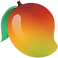 Mango Health Logo, a red, orange and yellow colored mango