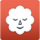 Stop Breathe & Think Logo, an orange square with white cloud shape tha has a peaceful black-line face on it with eyes closed