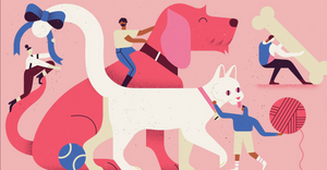 An illustration on a pink background.  A large dog and a white cat with various toys around them.  there are 4 illustrated people in the image as well, carrying toys, riding the dog and tying a ribbon on the cat's tail.