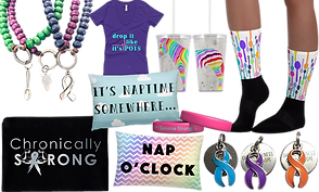 "A set of 3 wood beaded bracelets with a spoon, a ribbon and other charms.  a purple shirt reading, ""Drop it like its POTS,"" A cup with straw that shows a rainbow toned zebra.  A pair of socks with black feet and multicolored spoons around the tops.  A zippered black bag reading, ""Chronically Strong,"" Two small rectangular pillows reading, ""It's Naptime Somewhere..."" and ""Nap O'Clock.""  Pink wristbands reading ""Spoonie Strong,"" and 3 charms with different colored ribbon charms."