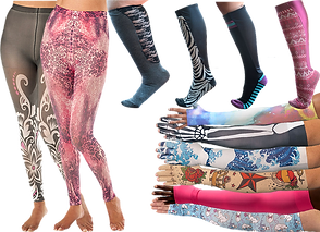 4 different compression knee highs, 2 pairs of compression tights in different designs and 6 arms wearing compression sleeve and gauntlet combinations