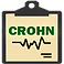 "Crohn's Assistance Logo, a black clipboard with yellow sheet on it reading ""CROHN"" in dark green print wth heart-rat style reading below the text in black"