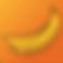 FODMAP Helper Logo, 2 drawn yellow bananas on an orange square background