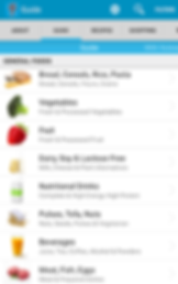 "Screencap of Monash Uni Low FODMAP App, a white screen below a gray menu bar with options for About, Guide, Recipes and Shopping.  The Guide tab is lit with a blue line, and below in the white section is a list of ""General Foods"" including, ""Bread, Cereals, Rice, Pasta,"" ""Vegetables,"" ""Fruit,"" ""Dairy, Soy & Lactose Free,"" ""Nutritional Drinks,"" ""Pulses, Tofu, Nuts,"" ""Beverages,"" and ""Meat, Fish, Eggs"""