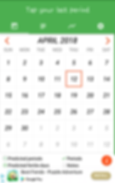 """Screenshot of Period Tracker App, a white calendar page for April with a wide green header that reads, """"Tap your last period.""""  At the bottom of the screen is a banner ad"""