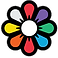 Recolor Logo, an 8-petaled daisy-type flower with white center and each petal a different color.