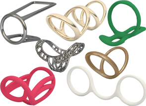 Various ring splints in different materials and colors.