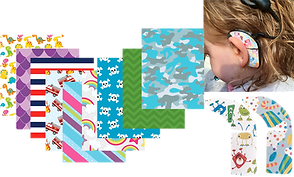 9 different sticker pattern swatches, the profile of a child with a cochlear implant receiver with a sticker on it, and 2 cut out stickers for receivers in different patterns.