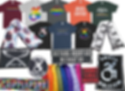 "8 tees of diferent colors.  They feature the following designs, ""A rainbow pattern which reads 'Neurodivesity', Rainbow colored disabled symbol, a rainbow clored character wearing headphones, an orang tee with white print reading, ""Loud Hand,"" a grey tee reading, ""respect my existance or expect resistance,""A black tee with a disabled symbl in the colors of the trans flag, A blue tee reading, ""Disabed is not a bad word,"" a black tee with rainbow disabled icon circled by text reading, ""everytime I move my wheels, I start a revolution,"" 2 different heat packs in different fabric patterns, a row of 8 heating pads in a rainbow of colors, and various cloth and leather patches reading, ""No Spoons Left, Fork You,"" ""Nothing About us Without Us,"" ""CripplePunk,"" ""Chronic Illness Warrior,"" ""Not Your Inspiration,"" and ""Smash Ableism"""