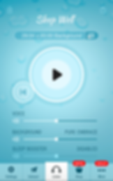 "Screenshot of Sleep Well Hypnosis App, a light blue screen with large play button in the center. Text towards the top reads, ""Sleep Well"".  There are options for voice, background, and sleep booster as sliders towards the bottom. A menu bar at the bottom of the screen has options for ""Settings, Interact, Listen, Shop"" and ""More"""