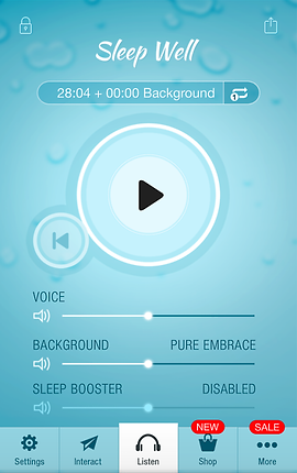 """Screenshot of Sleep Well Hypnosis App, a light blue screen with large play button in the center. Text towards the top reads, """"Sleep Well"""".  There are options for voice, background, and sleep booster as sliders towards the bottom. A menu bar at the bottom of the screen has options for """"Settings, Interact, Listen, Shop"""" and """"More"""""""