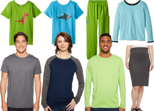 A green kids hirt with a dinosaur on it, and a blue one wih a shark.  A pair of long green comfortable pairof pants with dinosaurs on the pockets.  A kids supersoft long sleeve shirt in light blue, a kne length skirt in dark gray with wide elastic waistband, a bright green long sleeved adult shrt, a navy shirt with gray long sleeves and a short sleeve grey tee shirt.