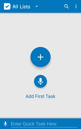 "Screenshot of To Do List, A white screen with blue header and footer.  The header has a checkmark and white text reading, ""All Lists"" with a dropdown arrow.  The footer has a microphone icon and light blue text reading, ""Enter Quick Task Here.""  In the center of the screen is an add button, a microphone button, and blue text reading, ""Add First Task"""