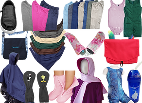 A zipper-top open sneaker, several shorts and pants for wheelchair users, a pink onesie, a green short jumpsuit that zips in the back, 2 bags for wheelchairs or walkers, a set of seatbelt/carseat pads, a row of multiple colors of drool-catching bandanas, a raincoat/poncho for wheelchair users, a pair of no pick mittens with sylester and tweety on them, a pair of zip-up soft pink shoes, a hooded pink scarf, a zippered-front one-piece bathing suit ad a plastic water bottle with a straw.