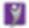 FibroMapp Logo, a purple square with a silver stick-ish figure person with arms raised
