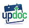 UpDoc Logo, a white circle with simple daily flip calender style page with blue header and the words updoc written over it