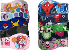 2 columns of 5 kids' eyepatches each with various cartoon chractes, sports and patterned themes