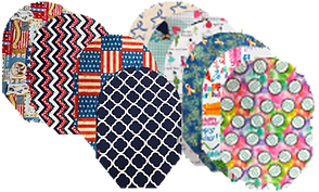 2 rows of 10 total ostomy pouches in a variety of different fabrics.