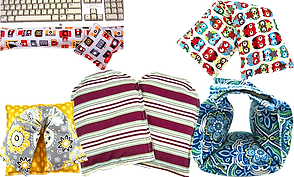 A computer keyboard with a wrist rest and mouspad rest in a fabric that has many different cameras on it, a neck heating wrap with owls on it, a set with a neck heating wrap and heading pad in coordinating fabrics, a pair of heating mittens, and a heatable wrist wrap.