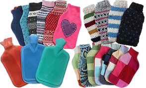 3 old-style rubber water bottles and 3 sets of bottle covers in varying prints, fabrics and patterns.