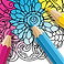 ColorMe Logo, a partially colored page of a floral coloring book with a pink, blue and yellow colored pencil resting on it.