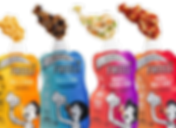 """4 plastic pouches in different color all marked by the brand name """"FREELI"""". Differen foods are shown coming out of each pouch. The first is macaroni and cheese, the second is chicken, beans and rice, the third is chicken and veggies, and the last is pasta with meat sauce"""