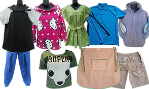 a black and gray tee shirt with velcro closure at the top, a pink hello kitty sweatshirt with similar opening at top, a green dress with matching belt, a blue polo with side velcro opening, a gray sweatshirt with zippable openings on each sleeve, a green shirt with panda's face and the word SUPER, a lap apron in peach and green, and a pair of kahki shorts with top velcro closures.