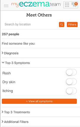 """Screenshot of My Eczema Team App, a white screen with """"My Eczema Team"""" at the top and black text below reading, """"Meet Others"""".  There is a search by location line, and below several drop-down categories to explore including, """"Find Someone like you:"""" """"Diagnosis,"""" """"Top 3 Symptoms, Rash, Dry Skin, Itching."""" An orange button reads, """"View all symptoms"""", then more black text reading, """"Top 3 Treatments"""" and """"Additional Filters."""""""