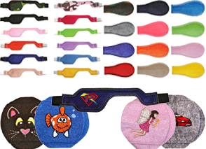 2 Sets of single-color eye patches in 2 style and multiple color options. 4 round patches with embroidered designs in a cat face,a fish, a fairy and a race car, and a longer desig patch with a superhero logo