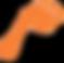 Project Toe Logo, an orange foot shape