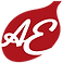 AllergyEats Logo, a red spoon-head shape with script letters AE in white in the bowl