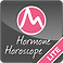"Hormone Horoscope icon, a small rounded edge square with a white-outlined pink crcle tat has a white mountain line in it. Text Reads, ""Hormone Horoscope Lite"""
