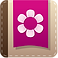 Period Diary Logo, a brown diary with pink patch on the cove with white flower petals
