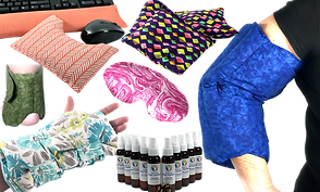 A desk set of wrist pads in orange tones, a long heat pad in a multi-color diamond pattern, A blue heating pad wrapped around a white person's elbow, a green heat pad wrapped around a white person's ankle, a pink and white heat pad for wearing over the eyes, a white person's wrist wrapped in a floral heat pad, and a v shaped row of various essential oil bottles.
